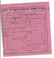 Récépissé Chemin De Fer D´intérêt Local Du Morbihan Grande Vitesse 1910 - Train - Vannes - Transportation Tickets