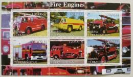 TURMENISTAN POMPIERS? VOITURES DE POMPIERS  Feuillet 6 Valeurs Emis En 2000. MNH, Neuf Sans Charniere - Sapeurs-Pompiers