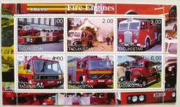 TADJIKISTAN POMPIERS, VOITURES DE POMPIERS  Feuillet 6 Valeurs Emis En 2000. MNH, Neuf Sans Charniere - Sapeurs-Pompiers