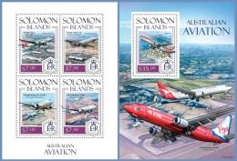 slm14110ab Solomon Is. 2014 Australian Aviation Airplane s/s