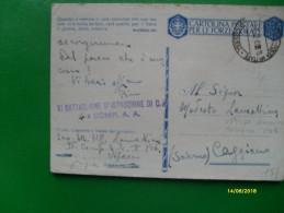 1942 Cartolina Postale Franchigia Forze Armate  Ufficio Concentramento Bologna - 1900-44 Vittorio Emanuele III