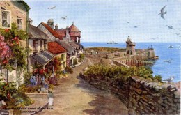 SALMON ART CARD - F E QUINTON - 3194 - THE HARBOUR FROM MARS HILL, LYNMOUTH - Lynmouth & Lynton