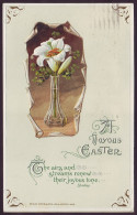 A JOYOUS EASTER. LILY FLOWERS IN VASE. Embossed (Postally Used, 1915) - Pasen