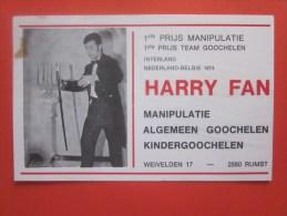 Artiste Magicien Prestidigitateur HARRY FAN MANIPULATEUR  Belgique Carte Publicitaire MAGICAL EFFECTS VARIETY Music-hall - Visiting Cards