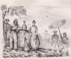 Moluques 1835 Amboine Homme Femme à La Fontaine Marché Campoing Chinois 2 Gravures 3 Scans - Books, Magazines, Comics