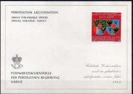 Weihnachten Neujahrs-Karte 1969 Liechtenstein 496 * 10€ Jubiläum Wappen Fürstentum Wilczek Silber-Hochzeit New Year Card - Liechtenstein