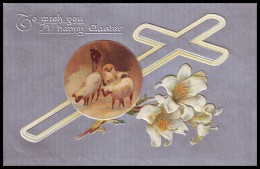 A HAPPY EASTER. SHEEPS, LILY FLOWERS, CROSS. TUCK'S POST CARD. Embossed (1908) - Pasen