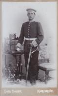 Photo Ancienne - Support Cartonné-  Militaire - Photo Carl Bauer - Karlsruhe - - Guerre, Militaire