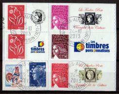FRANCE LOT 5 TIMBRES PERSONNALISES ET 2 AUTOCOLLANTS OBLITERES SUR FRAGMENT - Gepersonaliseerde Postzegels