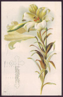 EASTER GREETINGS. LILY FLOWERS. Embossed (Postally Used, PM 1916) - Pasen