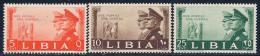 Libya, Scott # 95-7 Mint Hinged Hitler & Mussolini, 1941 - Libya