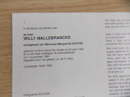 Doodsprentje Willy Mallebrancke - Sint Joost Ten Node 30/4/1905 Oostduinkerke 7/11/1991 ( Marguerite Scuvée ) - Religion &  Esoterik