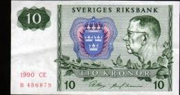 SUEDE - 10 COURONNES / TIO KRONOR - 1990 - Suède