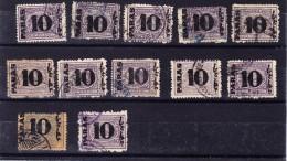 Ägypten - Ausgabe Boulaq Lot Von 12 Gebrauchte Marken Aufdruck 10 Paras - 1866-1914 Khédivat D'Égypte