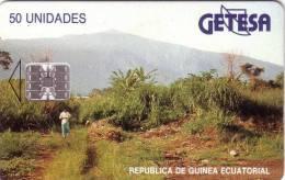 GUINEE EQUATORIALE 50U SC7 N° ROUGES VERSO  PAYSAGE RARE