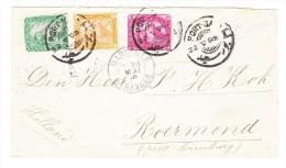 Ägypten 3 Farben 2 3 U. 5 M. Auf Brief  22 5 1895 Port Said Nach Roermond Holland Transit + AK St. - 1866-1914 Khédivat D'Égypte