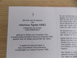 Doodsprentje Agnes Kino Vinkem 9/11/1912 Veurne 22/1/1993 ( André Maenhout ) - Religion & Esotérisme