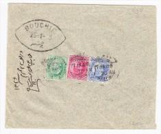 Irak - Brief Von Bombay 3 Farbe Engl. Frankatur Nach Bouchir Irak Mit AK-Stempel - Iraq
