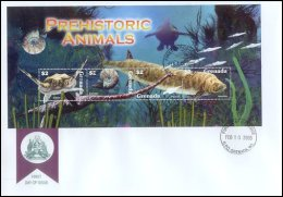 Grenada 2005 Sheet/4 Dinosaurs Prehistoric Including Nautilus #3496 Archelon First Day Cover - Grenada (1974-...)