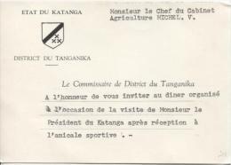 Carte D'invitation De L'Etat Du Katanga District Du Tanganika Invitation Pour La Visite Du Président Du Katanga PR829 - Autres
