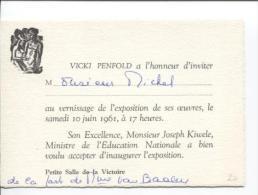 Carte D'invitation Pour Un Vernissage Des Oeuvres De Vicky Penfold Au Katanga PR832 - Cartes