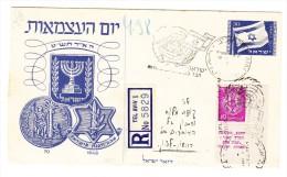 R-Ganzsachen Brief 12.5.1948 Tel Aviv Mit Zusatzfr. Mi.#3 (Abart 4 Zeilen Auf Tabs) - Israel
