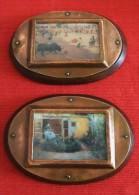 2 CUADROS OVALADOS CON MARCO DE COBRE SOBRE MADERA - 2 OVAL COPPER  PAINTING ON WOOD - Otras Colecciones