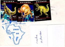 Aviso  Jean Moulin ZMAS 95 Obl. Guinée 20/11/95 TP Locaux Dinosaures - Storia Postale