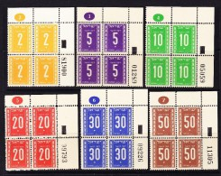 Israel 1949 Porto Mi.#6-11 Im Viererblock ** Falz Auf Eine 10 Und 50 Er Marke - Timbres-taxe