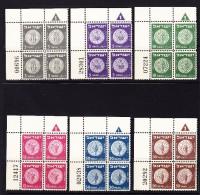 Israel 1949 Porto Mi.#22-27 Im Viererblock ** Vom Eckrand - Neufs (sans Tabs)