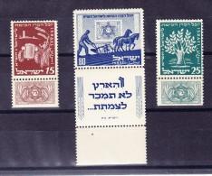 Israel 1951 Mi.# 59-61 ** Full Tabs - Israel