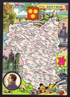CPSM Gf .Dépt. AVEYRON. Carte Departementale N° 12 Blondel La Rougerie - Francia