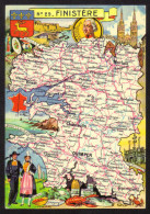 CPSM Gf .Dépt. FINISTERE. Carte Departementale N° 29. Blondel  La Rougerie - Francia