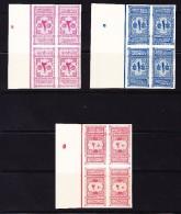 Saudi Arabien 1917 Portomarken Mi.#1-3 In Viererblock Ungezähnte Probedrücke - Arabie Saoudite