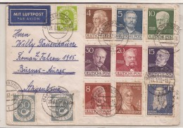 GERMANY - Xfine !!! EHIBITION ITEM - PHILATELIC COVER - BERLIN -BUNDES + DDR  (12 Stamps) On 1953 COVER To BUENOS AIRES - Lettres