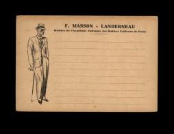 29 - LANDERNEAU - Carte Publicitaire - Marchand Tailleur - F. Masson - Maître Tailleur - Landerneau