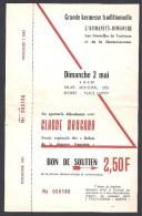 TOULOUSE - Kermesse De L'Humanité Dimanche - 1965 - Bon De Soutien De 2,50 F - Tickets D'entrée