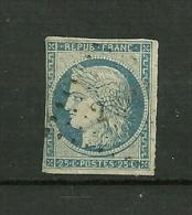 FRANCE  18 50    N° 4     Cérès 25c Typographié  Papier Teinté      Oblitéré - 1849-1850 Cérès
