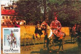 BRASOV'S JUNI, TRADITIONAL COSTUMES, HORSEMEN, CM, MAXICARD, CARTES MAXIMUM, 1996, ROMANIA - Maximum Cards & Covers