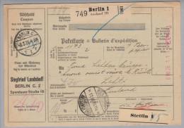 Deutsches Reich 1926-03-08 Berlin1 Paketkarte Mit Registrierkassenstempel + Prägung Nach Lahti Finnland - Deutschland