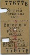BILLETE DEL FERROCARRIL DE SARRIA A BARCELONA - IDA Y VUELTA   / 1916/ (Nu) - Bus