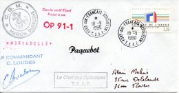 FRANCE. Enveloppe Commémorative De 1990. Marion Dufresne Aux Kerguelen. - Französische Süd- Und Antarktisgebiete (TAAF)