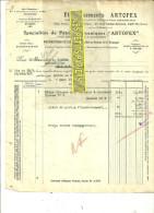 93 - Seine-st-denis - PANTIN - Facture ARTOFEX - Pétrins Mécaniques - Machines Pour Pâtisseries – 1928 - REF 33 - France
