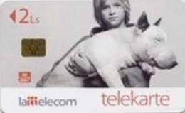 Latvia- Dog -BULL TERRIER And Boy-2006 -chip Phonecard - Latvia