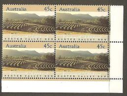 45c Hunter Valley NSW Vineyards Grape Wine Stamp Australia 1992 Cnr Block 4 MNH - Feuilles, Planches  Et Multiples