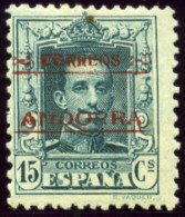 """Spanish Andorra Scott #4a, A Stamp 15 Cent. Slate Bluish Green, Perforated 12 1/2 X 11, Overprinted """"CORREOS ANDORRA"""" - Neufs"""