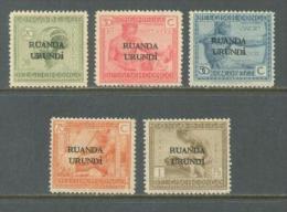 1924 RUANDA-URUNDI OVERPRINTS MICHEL: 5, 7, 10, 12, 14 MNH **