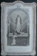 IMAGE PIEUSE XIXème(vers 1880) CANIVET DENTELLE PROFESSION DE FOI D'UN ENFANT DE MARIE  -  HOLY CARD SANTINO - Images Religieuses