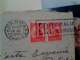 BUSTA  COPPIA 10 L DEM. ANNULLO TARGHETTA PARMA  1950 ERP L'ITALIA RICOSTRUISCE  EK6467 - Marcofilie - EMA (Print Machine)