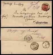 """DR 1890 Brief Nr. 47 Db """"verbreitert"""" Gitterstempel Nakel (Netze) OPD Bromberg > Mrotschen - Deutschland"""